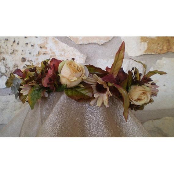 Bridal Autumn Equinox floral head wreath flower crown women's flower accessory renaissance faerie costume