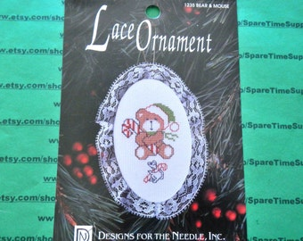 "Designs for the Needle Inc. - 1235 Lace Ornament Bear and Mouse 3 1/2"" x 5"" - 1 kit"