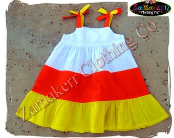 Custom Boutique Clothing Girl Candy Corn Tiered Dress Halloween Infant Toddler Baby Outfit Set  3 6 9 12 18 24 month size 2T 3T 4T 5T 6 7 8