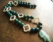 Nature Flourishing Howlite Adventurine and Azurite Beaded necklace