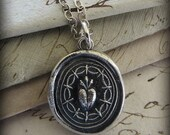 Ardent Love and Affection Wax Seal Pendant Necklace in eco friendly recycled fine silver
