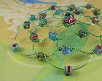 MILLEFIORE kippah, red, aqua, yellow, blue, green beads, green craft wire headpiece, jewish woman colorful yarmulke