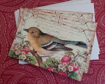 Vintage Bird Notecards - Strawberry Thief Bird Notecards - Flat Notecards, Strawberries, Nature, Golden Bird- Set of 3