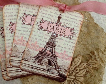 Vintage Paris Tags -SEPIA AND PINK - Eiffel Tower Tags - Paris 1889 Exposition Tags  - Set of 4