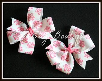 LiliBug Ballerina Hair Bow Set - Pink White - Ready To Ship