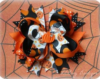 LiliBug Halloween Pumpkin Layered Hair Bow - Ready to Ship
