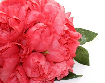Full Coral Pink Peony BOUQUET -- Artificial Flower, Wedding Bouquet - ITEM 01102