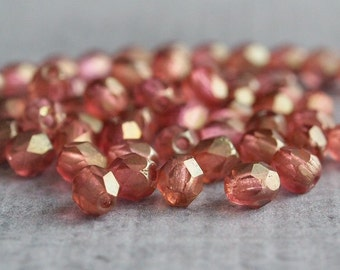 4mm Czech Glass Bead Transparent Rosaline Matte Luster Faceted Round : 50 pc