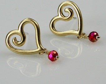 Gold Heart and Red Crystal Post Earrings
