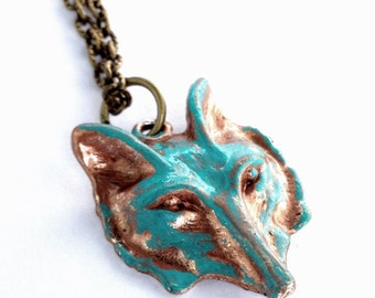 Turquoise Teal Patina Woodlands Fox Pendant Necklace