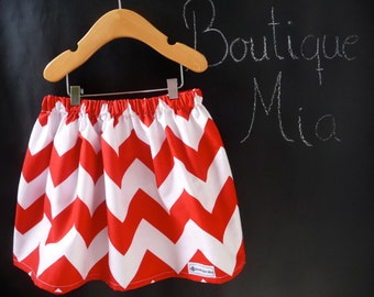 SAMPLE - Children Skirt - Chevron Red and White - Will fit Size 12-24 month to 2T - by Boutique Mia - Ready To Ship