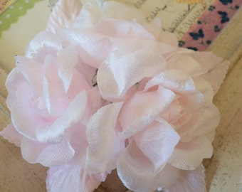 Vintage Millinery / Barely Pink Roses / Stiff Fabric / Bridal