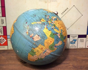 Nice Vintage Metal Replogle 8 inch air race globe Brueckmann Cartographer as-is