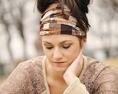 Bandana Headband Women, Extra Wide Hair Wrap, Brown Headband, Expandable Headband, Head Bandana, Extra Wide Cotton Headband Elastic Back