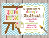 PRINTABLE Art Birthday Party Invitation / Painting, Pottery, Arts and Craft Party / Girls Art Party / You Print