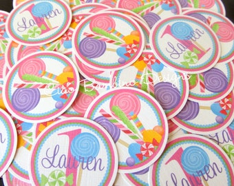 Sweet Shoppe Lollipop Minis / Mini Tags to Make Cupcake Toppers, use as Table Confetti and More / Set of 75