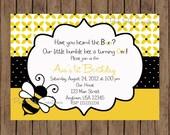Bumblebee Birthday Invitation / Bee Baby Shower Invitation / Bee Birthday / girl or boy / PRINTABLE