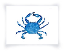 Blue Crab Print From Original Watercolor, Chesapeake Bay Blue Crab Wall Art Print, Maryland Blue Crab Home Decor Wall Art Print, Coastal Art