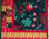 Dramatic Floral Quilted Wallhanging Black Red Celebrate Quilting