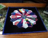 Quilted Dresden Plate Table Topper, Circle Star Flower Wall Hanging, Multicolor, Quiltsy Handmade