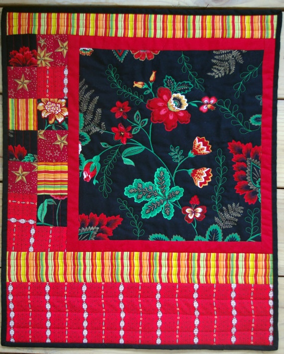 Floral Quilted Wallhanging, Black Red, Quiltsy Handmade