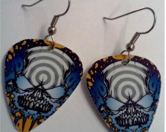 Spiral Skull Guitar Pick Earrings