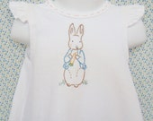 Peter Rabbit - Hand Embroidered Baby & Toddler Pinafore Girl Baby Dress / Shirt (Made to Order)