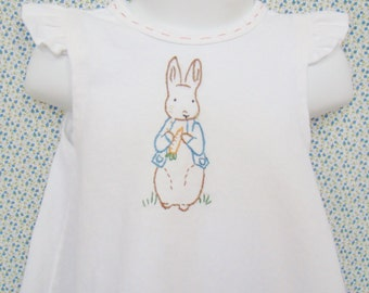 Peter Rabbit - Hand Embroidered Baby & Toddler Pinafore Girl Baby Dress  (Made to Order)