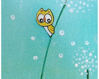 yellow owls ( Original ) aqua, summer, dandelions,  whimsical wall art