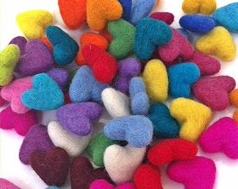 Wool Felt Hearts - Set of 20