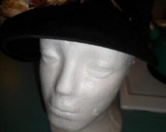 Ladies vintage dressy hat black wool with orange brown feathers
