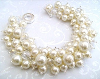 Set of 5 - Bridal Jewelry, Wedding, Pearl Bridesmaid Bracelet, Cluster Bracelet, Pearl Bracelet, Ivory Pearl Jewelry - Designs by Kim Smith