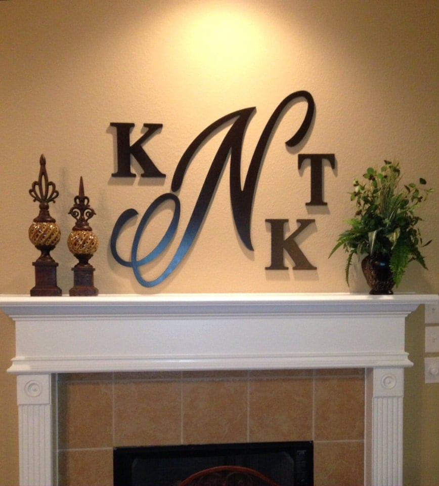 Large 28 inch wooden monogram hand painted wooden letters - Decorative wooden letters for walls ...