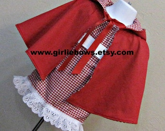 Little Red Riding Hood Costume Cape size 3 6 9 12 18 month mo 2T 3T 4T 5 6 ..... By Girliebows