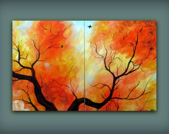 Fall Autumn Tree Leaf Painting with Oranges and Yellows...Abstract Modern Art Diptych Painting by HD Greer