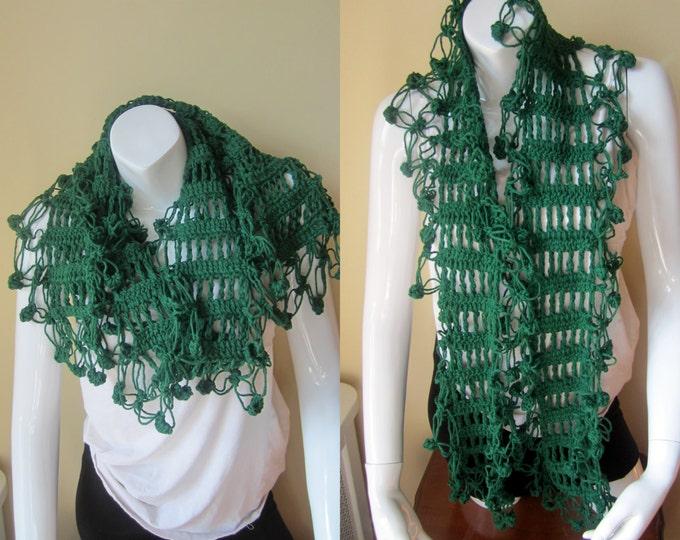 Crochet wrap scarf, FOREST GREEN, scarf with fringes, shawl, neckscarf, shawl wrap