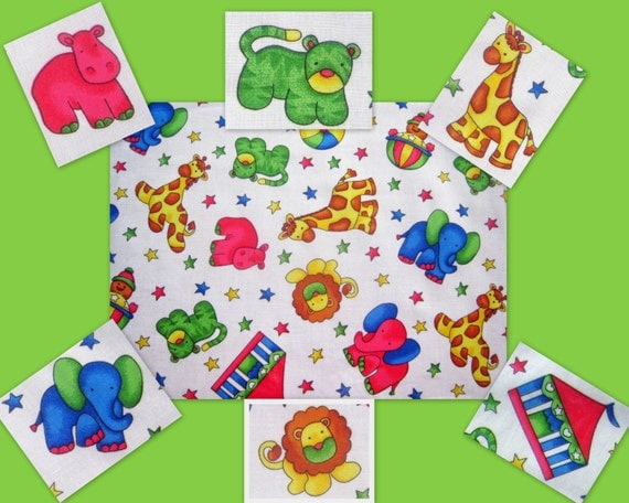 Items similar to circus cotton fabric novelty kids animals for Kids novelty fabric