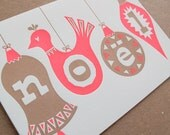 Noël Ornaments Letterpress Holiday Christmas Card // Set of 6 // 1549B