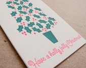 Holly Jolly Christmas Letterpress Holiday Card // Set of 6 cards // 1547B