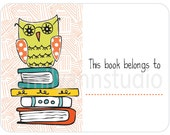 Owl on Books Book Plates This Book Belongs To Labels Set of 15
