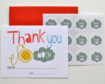 Easy Peasy Thank You notes for Kids with stickers