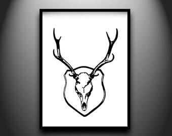 Stag, framed original hand-cut paper art