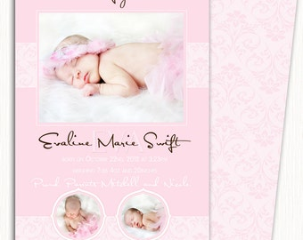 Photo Birth Announcement/Girl Baby Announcement/Printable Photo Birth Announcement/Print yourself/*free background*