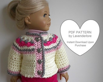 Crochet Pattern by Lavenderlore for Icelandic Style Sweater Jacket that fits Many Popular 18 Inch Dolls - PDF Download