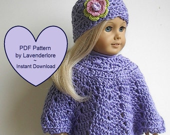 "PDF CROCHET PATTERN by Lavenderlore for 18"" Girl Dolls - Poncho and Hat with Irish Rose Pattern -  Permission to Sell Finished Item"