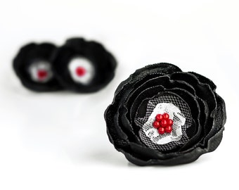 3 Big handmade fabric flowers in black, red and white - flower appliques, wedding flowers, corsage flowers, gift wrapping, supplies, boquet