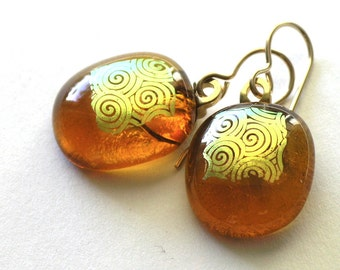 Warm Amber Glass Earrings - Autumn Golden Glowing Glass Drop Earrings - Fused Glass with Gold Accents
