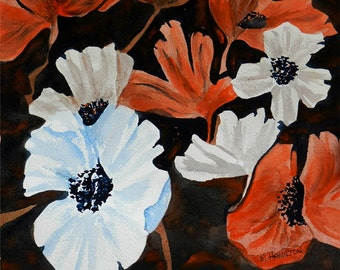 Poppy Flowers Watercolor Painting, Orange Poppies Wall Art Decor, Poppy Theme Art, Original Watercolor Poppies