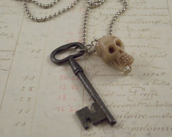 Skeleton Key Charm Necklace - Gothic Necklace - Mixed Media Charm Necklace - Skull Necklace - Key Necklace - Day of the Dead Necklace