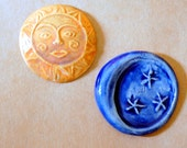 2 Handmade Ceramic Mosaic tiles -Orange Sun and Blue Moon by Beadfreaky